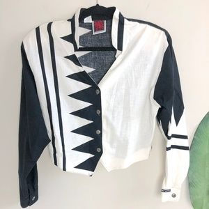 Vintage MO BETTA Black & White Western Cropped Top